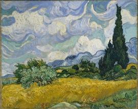 Van Gogh, Graanveld met cipressen
