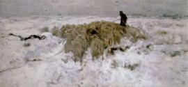Mauve, Kudde schapen met herder in de sneeuw