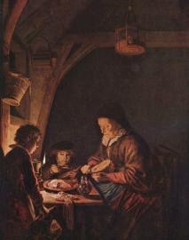Dou, Broodsnijdende oude vrouw