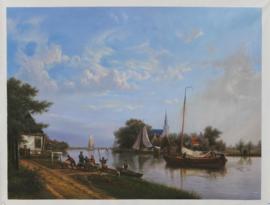 H. Koekkoek: Aken op een kanaal in de zomer
