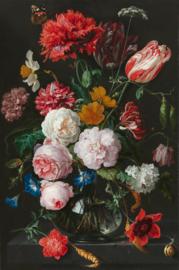 De Heem, Stilleven met bloemen in een glazen vaas