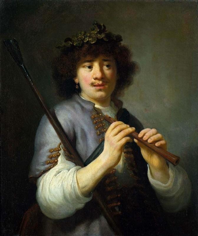 Flinck, Rembrandt als herder met staf en fluit