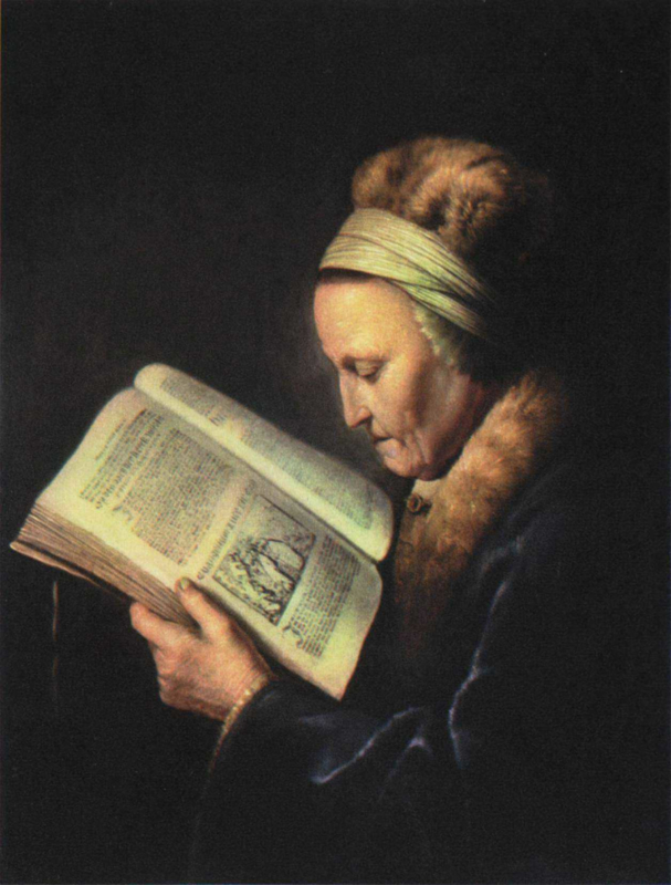 Dou, Lezende oude vrouw, Rembrandts moeder