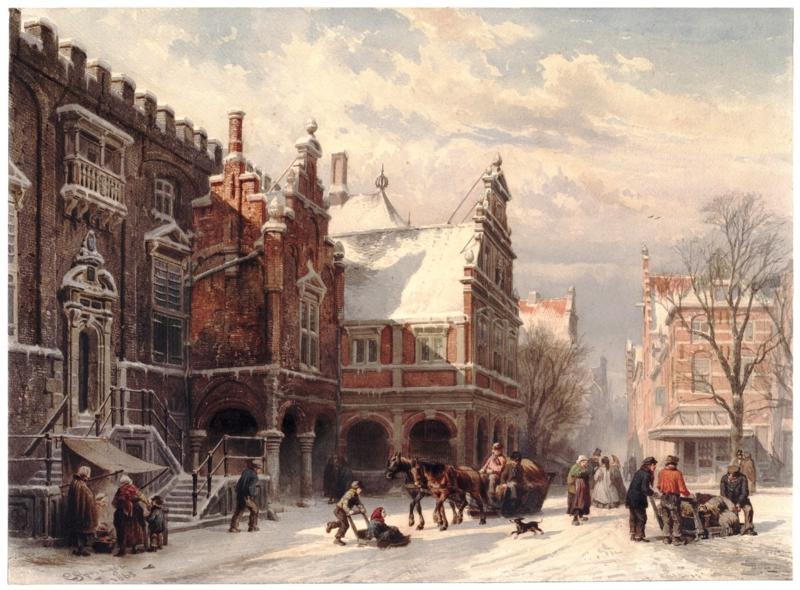 Springer, Het stadhuis van Haarlem bij winter