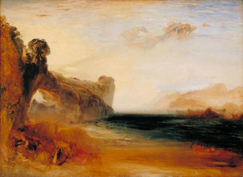 Turner, Rotsachtige baai met figuren