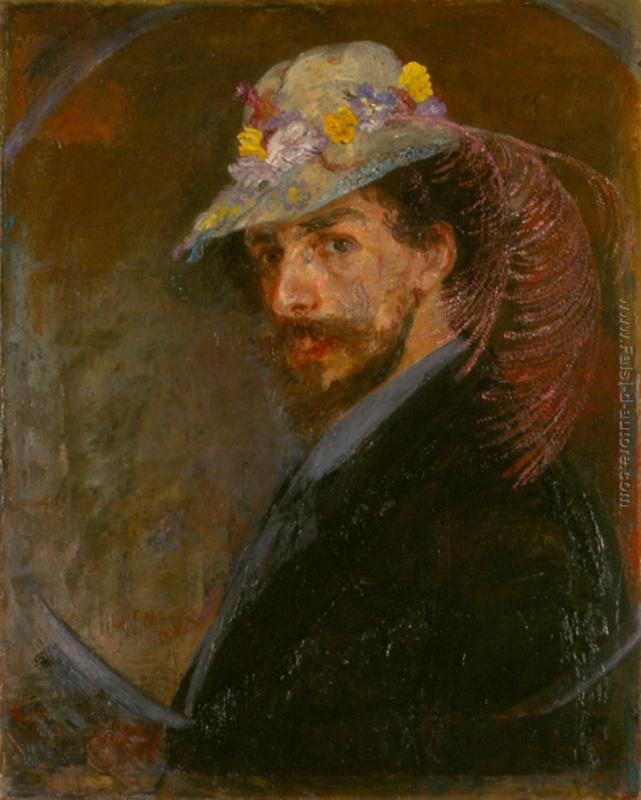 Ensor, Zelfportret met bloemenhoed