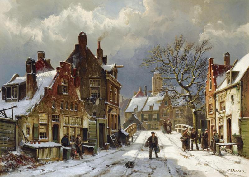 W. Koekkoek, Mensen op straat in een winterse stad
