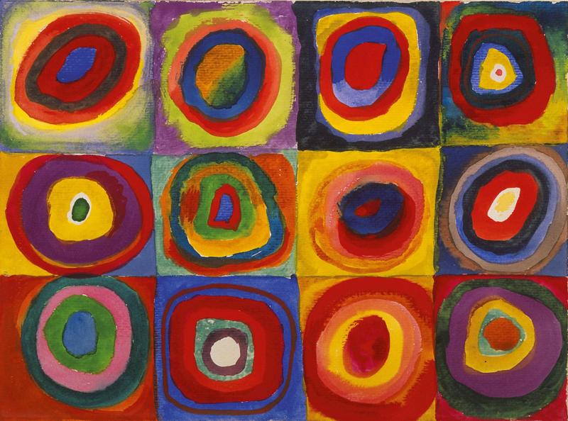 Kandinsky, Kleurenstudie, vierkanten met concentrische cirkels