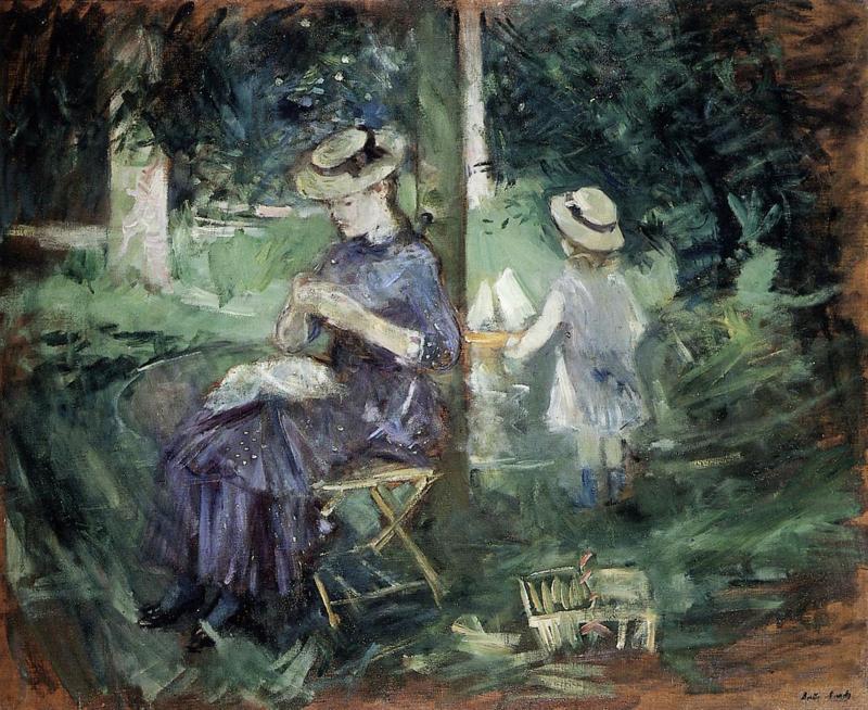 Morisot, Vrouw en kind in de tuin