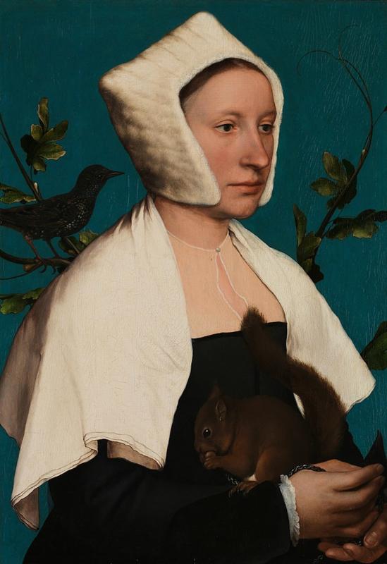 Holbein, Dame met een eekhoorn en spreeuw