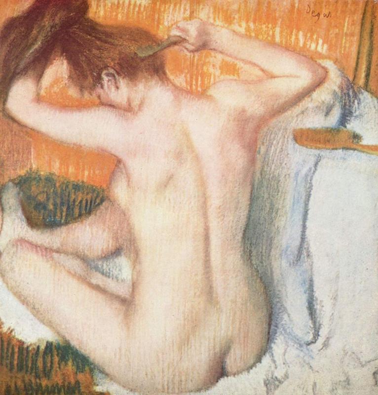 Degas, Vrouw die haar haren kamt