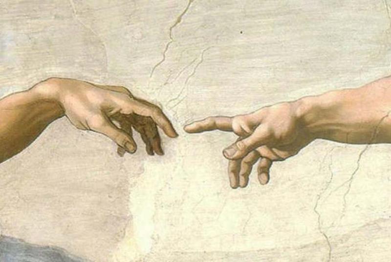 Michelangelo, De schepping van Adam (detail: handen)
