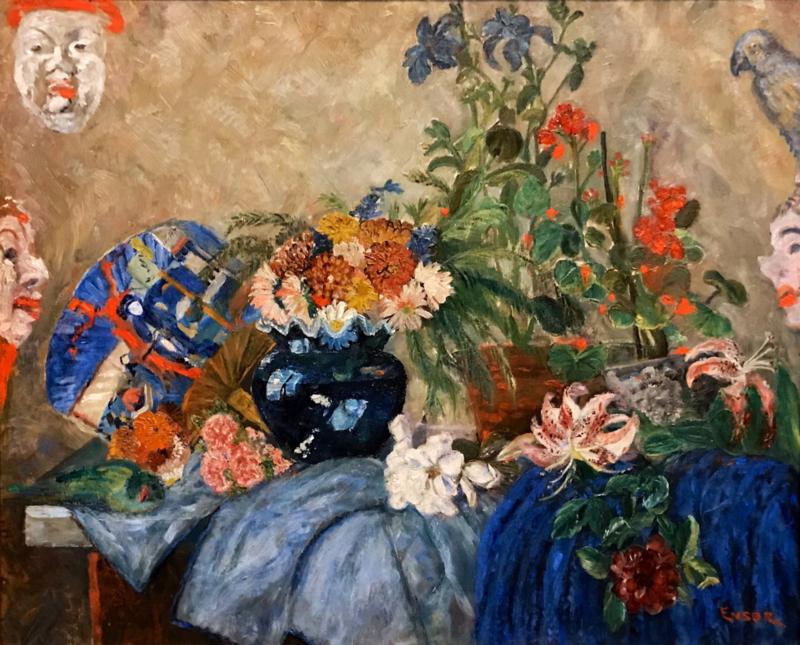 Ensor, Stilleven met bloemen en maskers