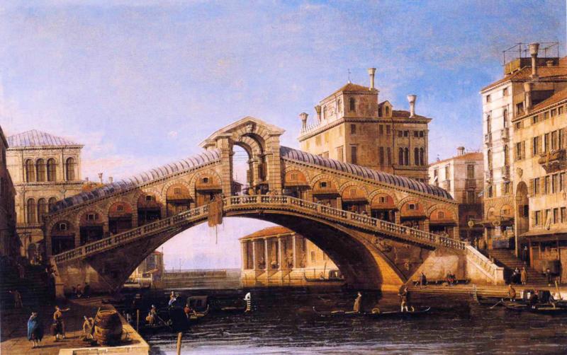 Canaletto, De Rialtobrug met de lagune erachter