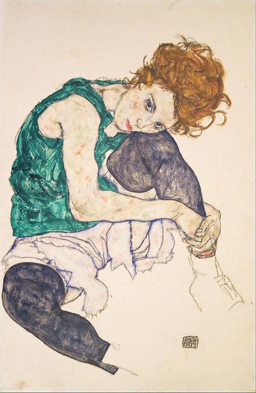 Schiele, Zittende vrouw met opgetrokken knie