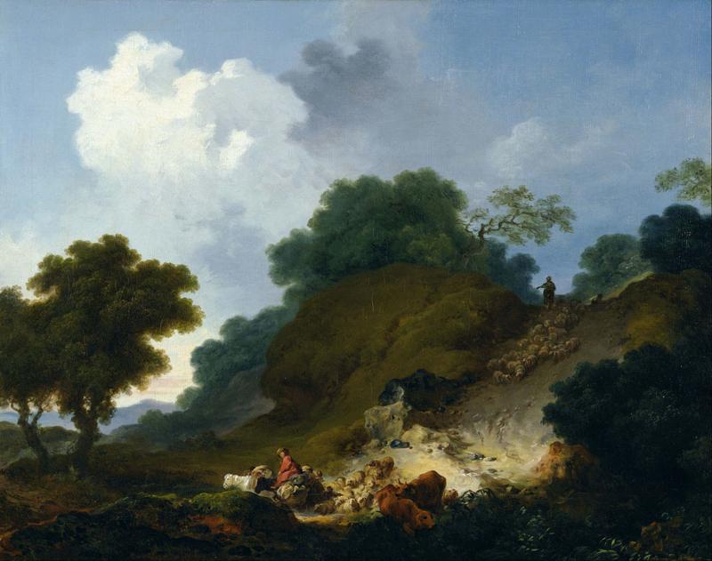 Fragonard, Landschap met herders en een kudde schapen