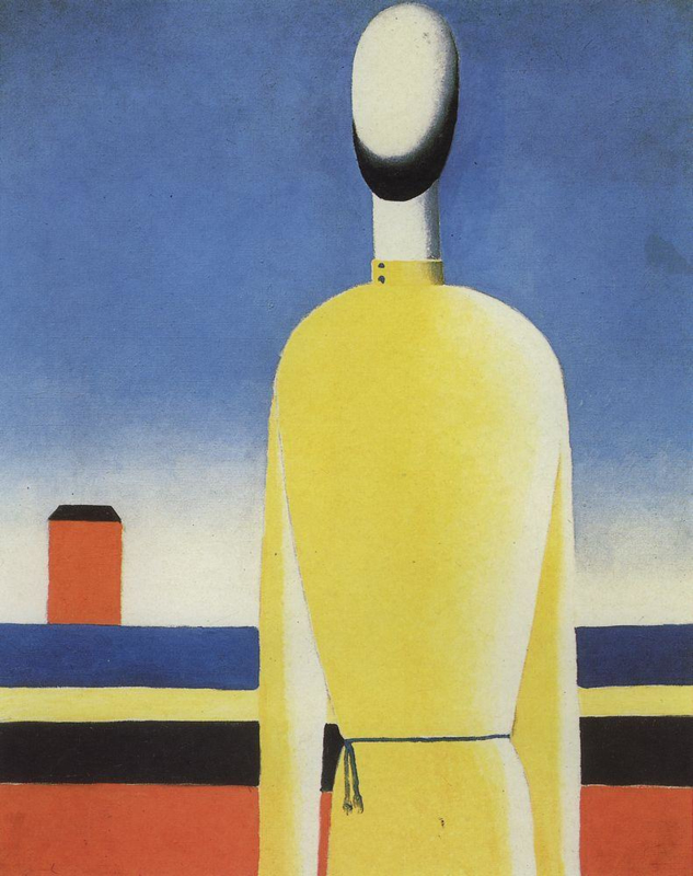 Malevich, Half figuur in een geel shirt