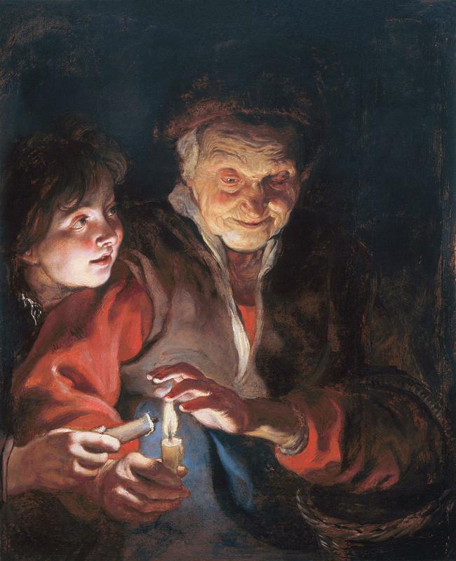 Rubens, Oude vrouw en jongen met kaarsen