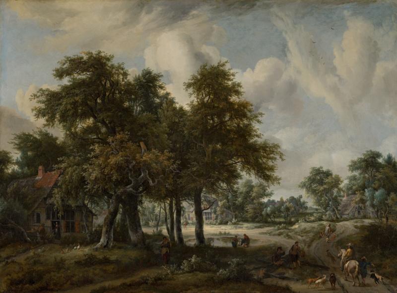 Hobbema, Landschap met boerenhoeven