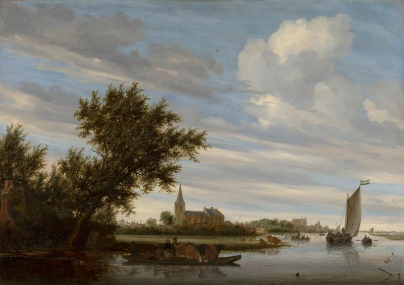 Van Ruisdael, Riviergezicht met kerk en veerpont