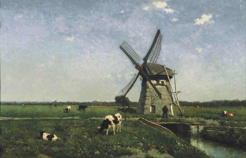 Weissenbruch, Landschap met windmolen bij Schiedam
