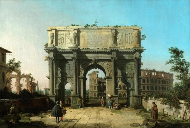 Canaletto, De boog van Constantijn met het Colosseum