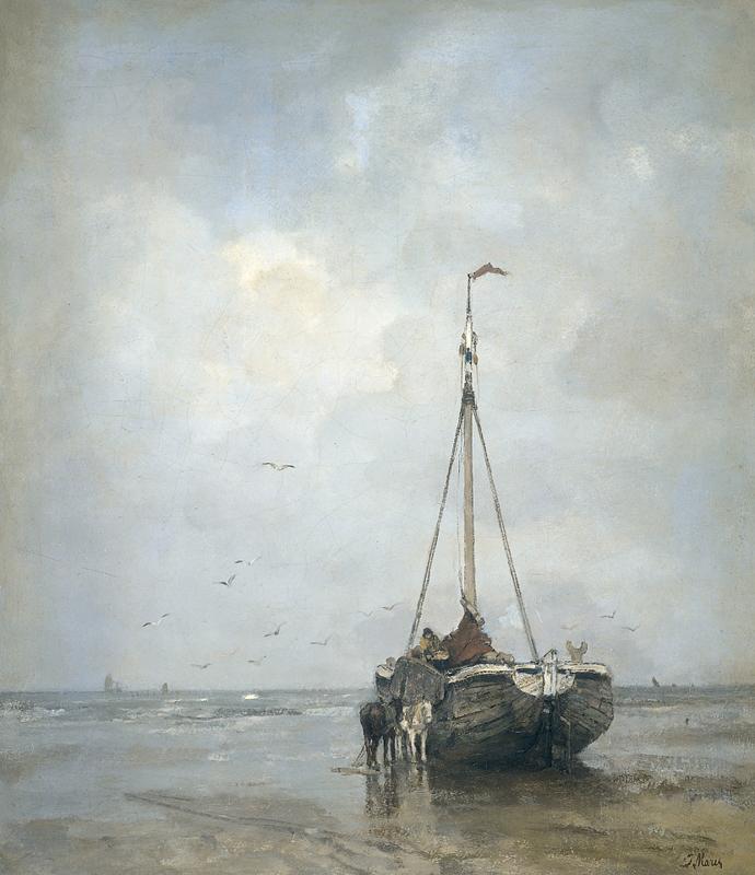 J. Maris, Bomschuit op het strand van Scheveningen