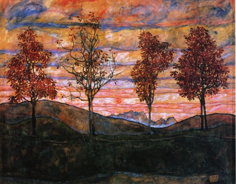 Schiele, Vier bomen