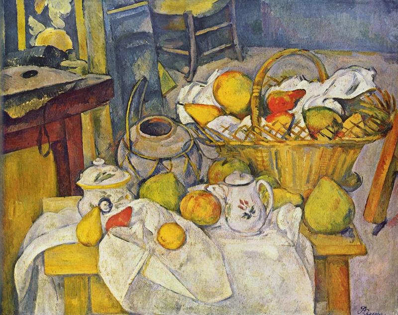 Cézanne, Keukentafel (stilleven met fruitmand)