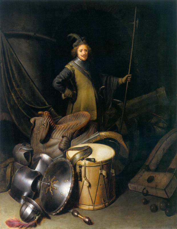 Dou, Portret van een officier van het Leidse schuttersgilde