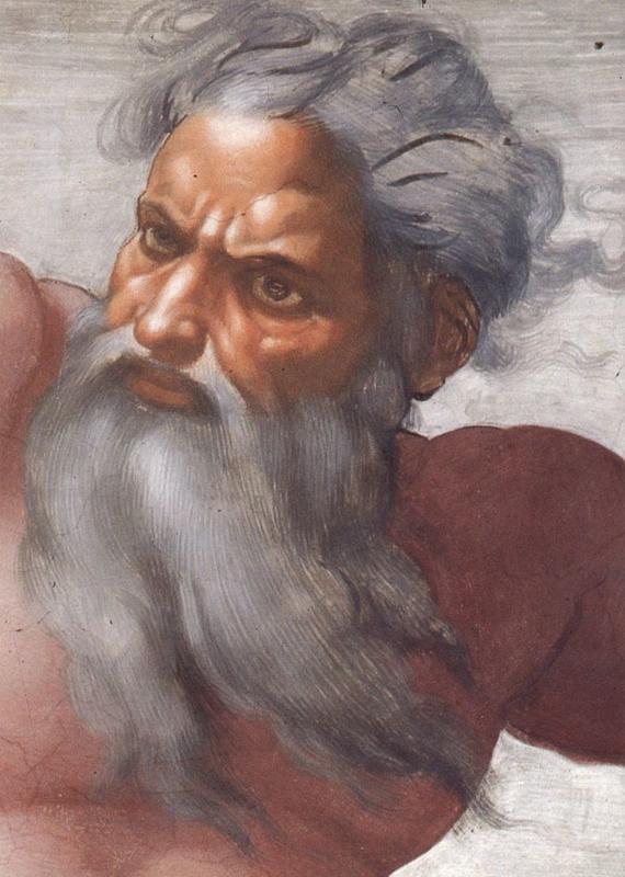Michelangelo, Schepping van de zon en de maan (detail: God)