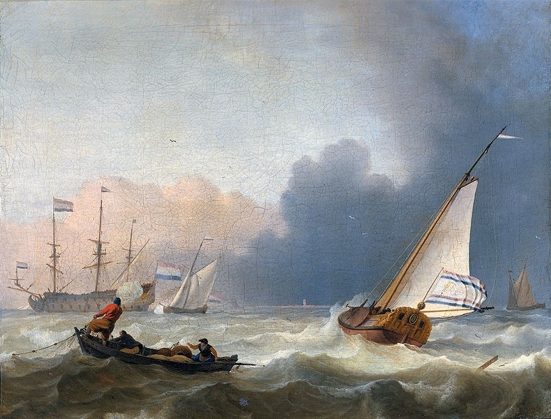 Bakhuysen, Woelige zee met Nederlands jacht onder zeil