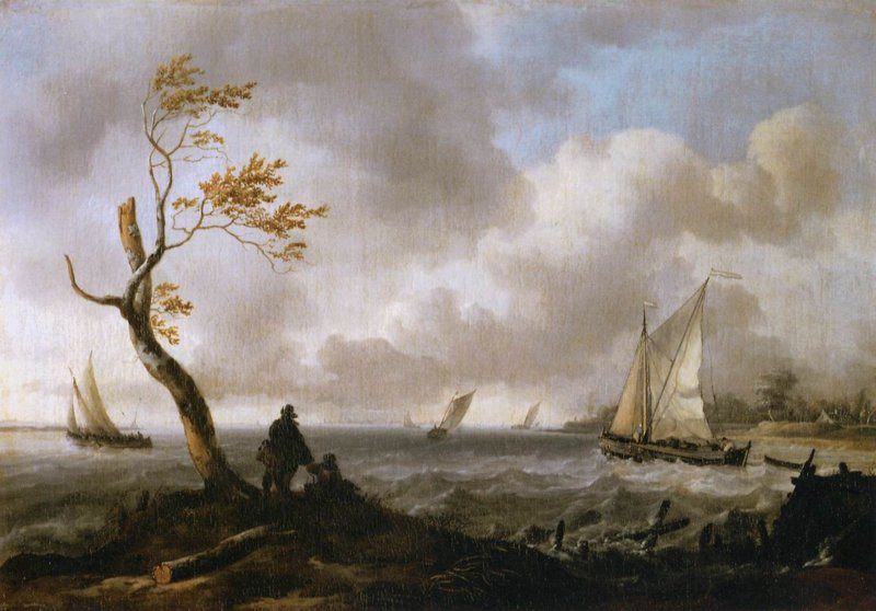 Bakhuysen, Vissersboten en kustvaartuig in ruw weer