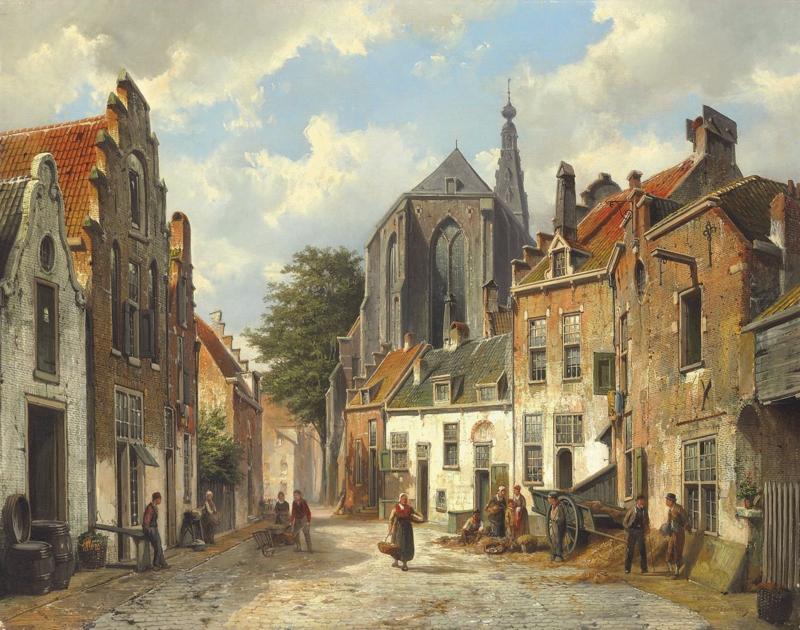 W. Koekkoek, Stadsmensen in een zonnige Nederlandse straat