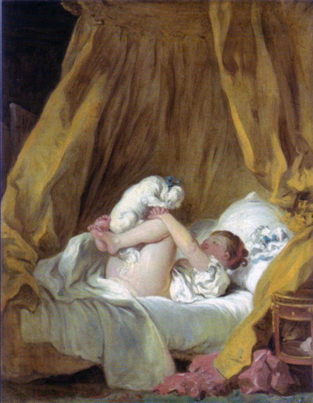 Fragonard, Meisje in bed, spelend met haar hond
