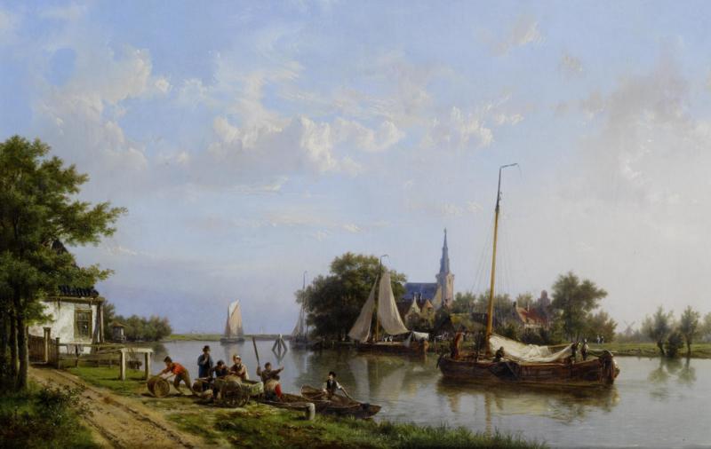 H. Koekkoek, Aken op een kanaal in de zomer