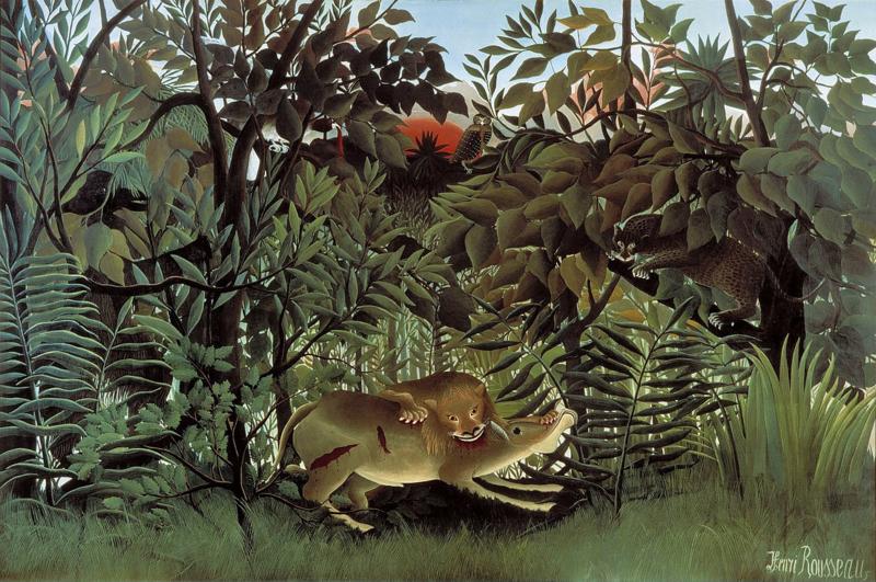 Rousseau, De hongerige leeuw die een antilope aanvalt