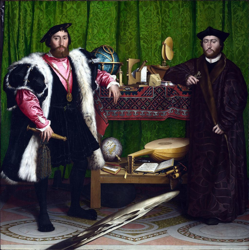 Holbein, Franse ambassadeurs De Dinteville en De Selve aan het hof in Engeland