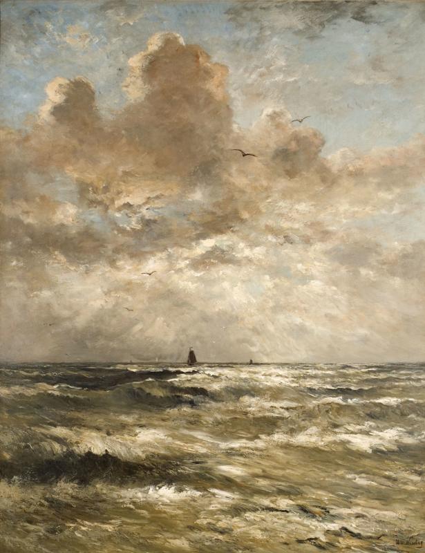 Mesdag, Woelige branding met twee schepen