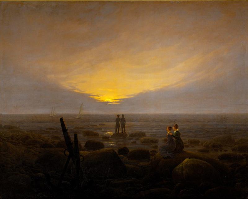 Friedrich, Opkomst van de maan boven de zee