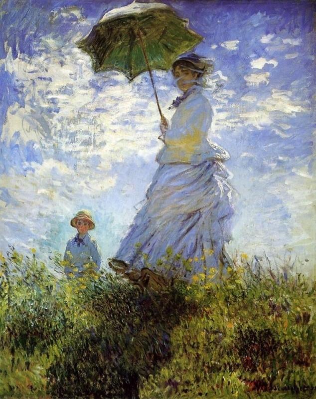 Monet, Camille Monet en zoon Jean op de heuvel