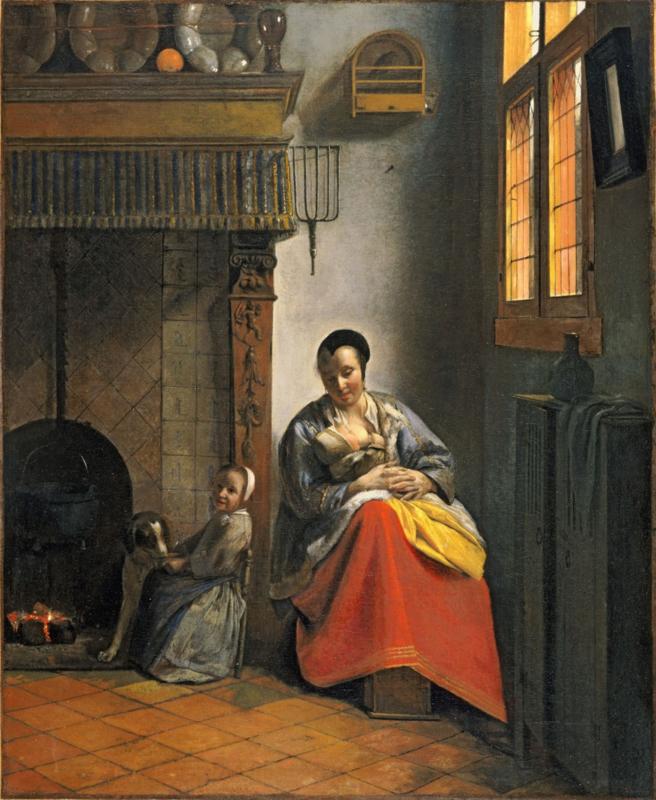 De Hooch, Vrouw die de borst geeft