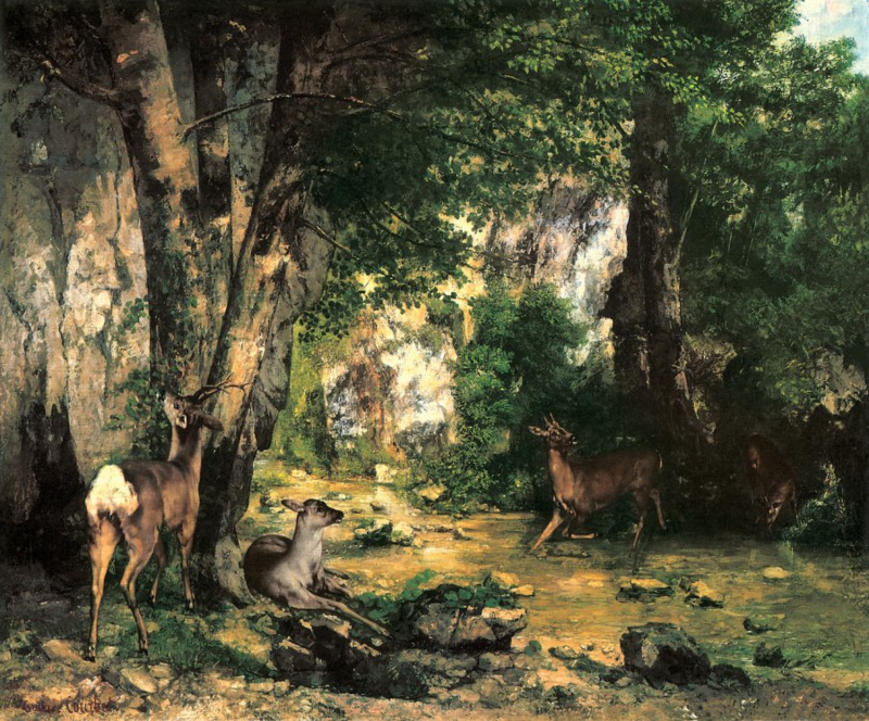 Courbet, Herten in de Plaizir Fontaine kreek