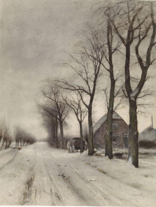 Apol, Winterlandschap met boerderij aan een laan