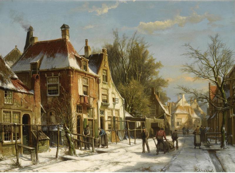 W. Koekkoek, Stadsgezicht in de winter