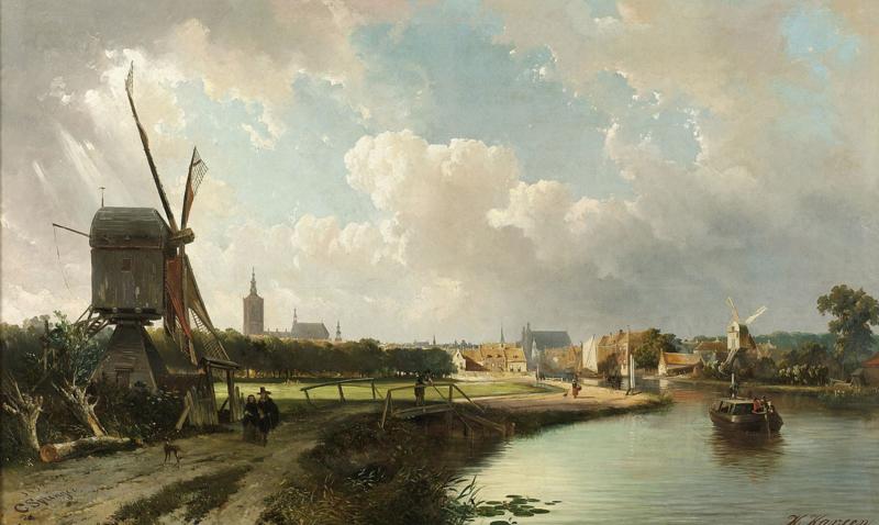 Springer, Gezicht op Den Haag vanaf de Delftse Vaart