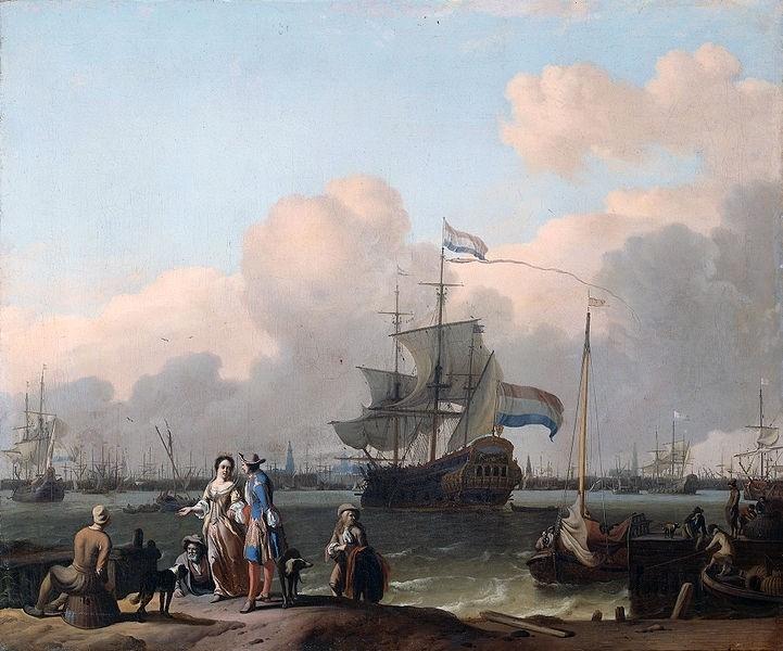 """Bakhuysen, Het fregat """"De Ploeg"""" op het IJ van Amsterdam"""