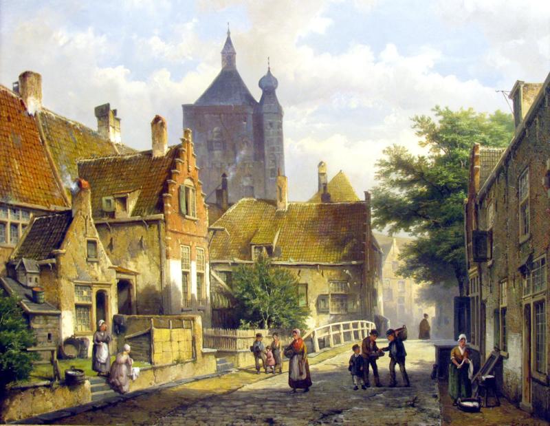 W. Koekkoek, Dorpsbewoners in een zonnige Nederlandse straat