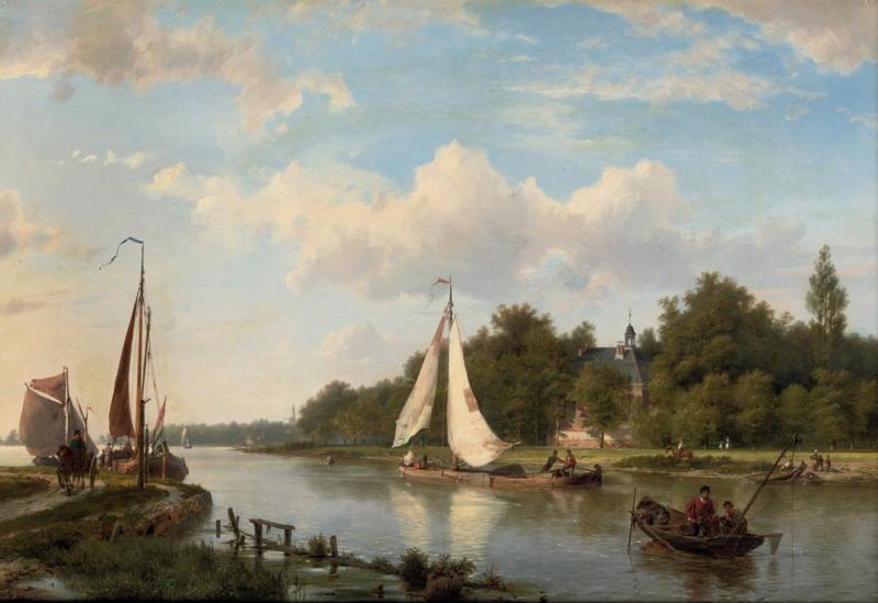 H. Koekkoek, Langs de rivier op een zonnige middag