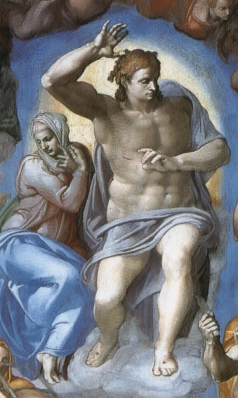 Michelangelo, Het laatste oordeel (detail: Christus en Maria)